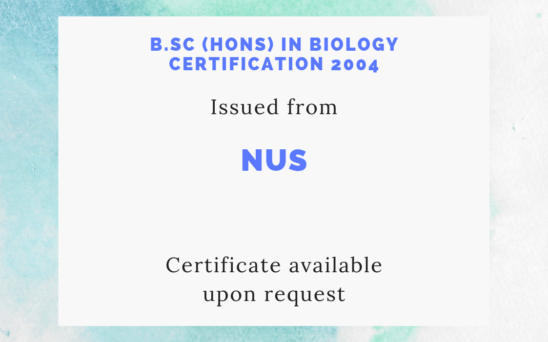 NUS - B.Sc (Hons) in Biology certification 2004
